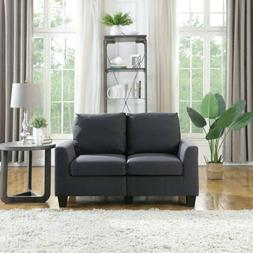 2-Seater Sofa Couch Loveseat Upholstered Square Armrest Delu