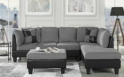 3-PC Living Room Set Microfiber Faux Leather Sectional Sofa,