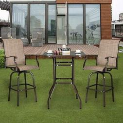 3 PCS Outdoor Patio Furniture High Bistro  Stools ChairsTabl
