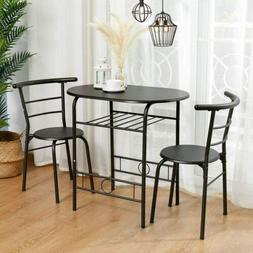 3 Piece Metal Dining Table Set 2 Chairs Kitchen Breakfast Di