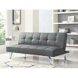 3-Seat Multi-function Upholstery Fabric Sofa Futon Bed Loung