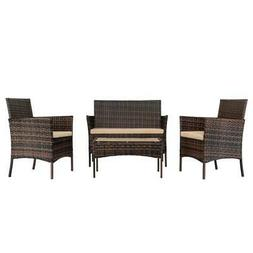 4 PCS Outdoor Patio Rattan Wicker Sofa Sectional Furniture S