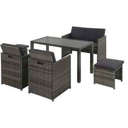6 Piece Outdoor Dining Set with Cushions Poly Rattan Gray