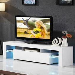 63'' High Gloss TV Unit Cabinet Stand with LED Lights Shelve