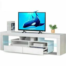 """63"""" TV Stand Unit Cabinet with LED Shelves 2 Drawer Console"""