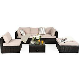 6PCS Outdoor Patio Rattan Furniture Set Cushioned Sectional
