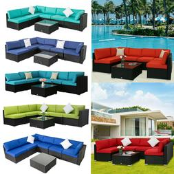7PC Outdoor Patio Furniture Sofa Set Sectional Couch Wicker