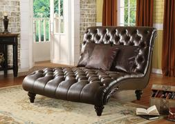 Acme Furniture Annondale Leather Brown Chaise Furniture