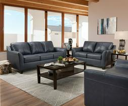 Acme Furniture Cocus Steel Blue Top Grain Leather Sofa and L