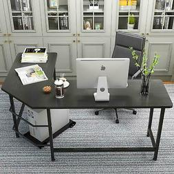 Computer Desk L Shaped Desk Laptop Table w/ CPU Stand Home O