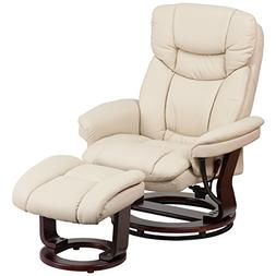 Flash Furniture Contemporary Beige Leather Recliner and Otto