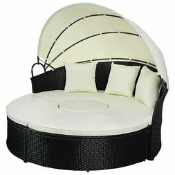 Daybed Patio Sofa Furniture Round Retractable Canopy Wicker