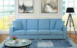 Extra Large Living Room Linen Sofa, 4 Seat Couch for Family