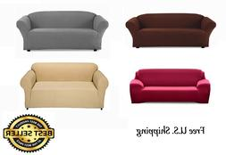 FURNITURE SOLID STRETCH SLIP COVER FOR SOFA, LOVE SEAT 3 DIF
