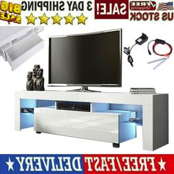 High Gloss TV Unit Cabinet Stand with LED Lights Shelves Dra