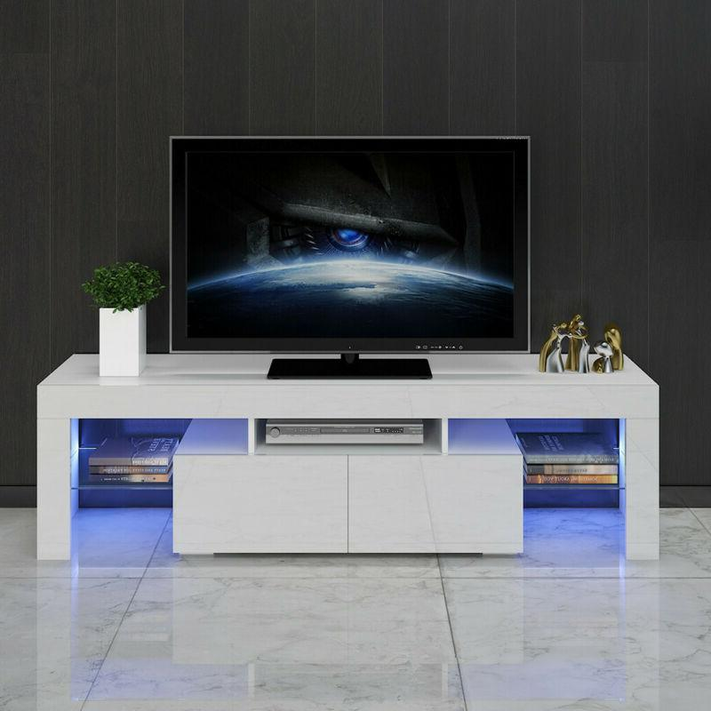 High Gloss TV Stand Unit Cabinet Console w/ LED Shelves 2 Dr