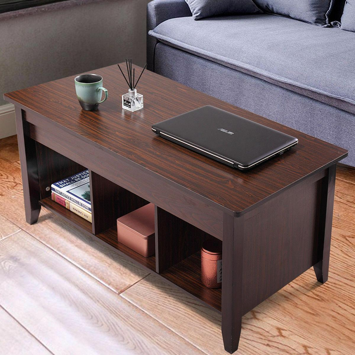 Lift Top Coffee Table w/Hidden Storage Shelves Furniture,Wooden