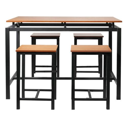 5Pcs/set Industrial Dining Table Chairs Home Kitchen Dining