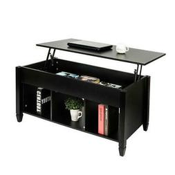 Lift Top Coffee Table Hidden Compartment Storage Shelves Mod
