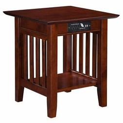 Atlantic Furniture Mission Charger End Table in Walnut