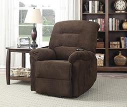 Coaster Casual Chenille Fabric Upholstered Power Lift Reclin