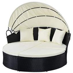 Outdoor Patio Sofa Furniture Round Retractable Canopy Daybed
