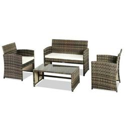 Patio Wicker Furniture Outdoor 4pcs Rattan Sofa Garden Conve
