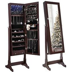 SONGMICS Jewelry Armoires 6 LEDs Cabinet Lockable Standing O
