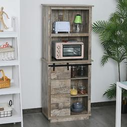 Rustic Wood Large Freestanding Cupboard Storage Cabinet with