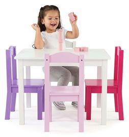 Toddler Dining Table For Girls Set of 4 Chairs Art Wood Kids